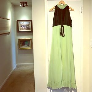 60s 70s Vintage Velvet Chiffon Green Maxi Dress